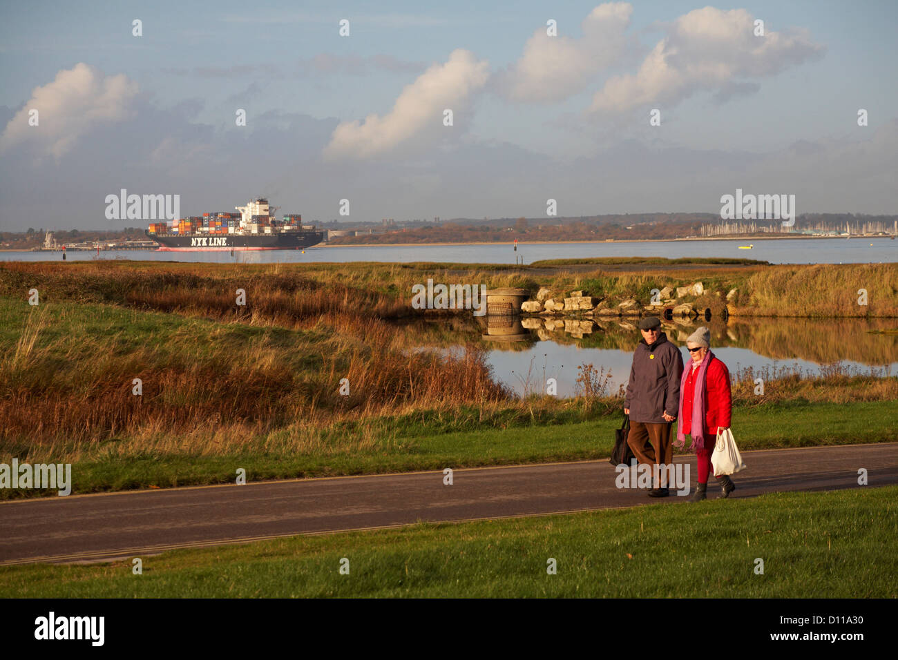 Elderly couple walking hand in hand with container ship NYK Line sailing into Southampton in the background at Calshot - Stock Image