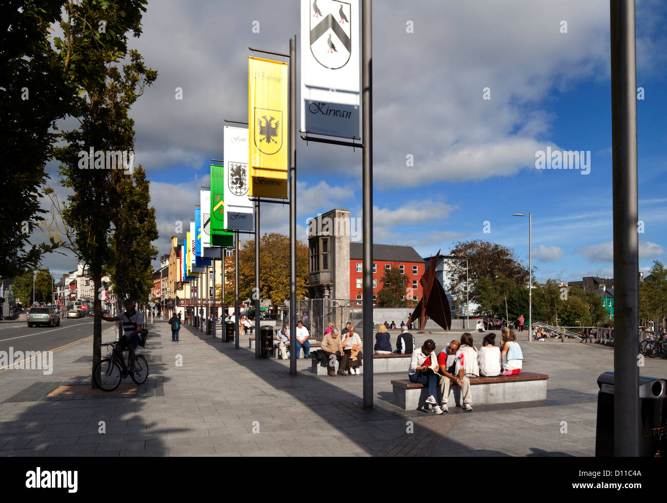 Galway family banners lining Kennedy Park in Eyre Square, Galway City, Ireland - Stock Image