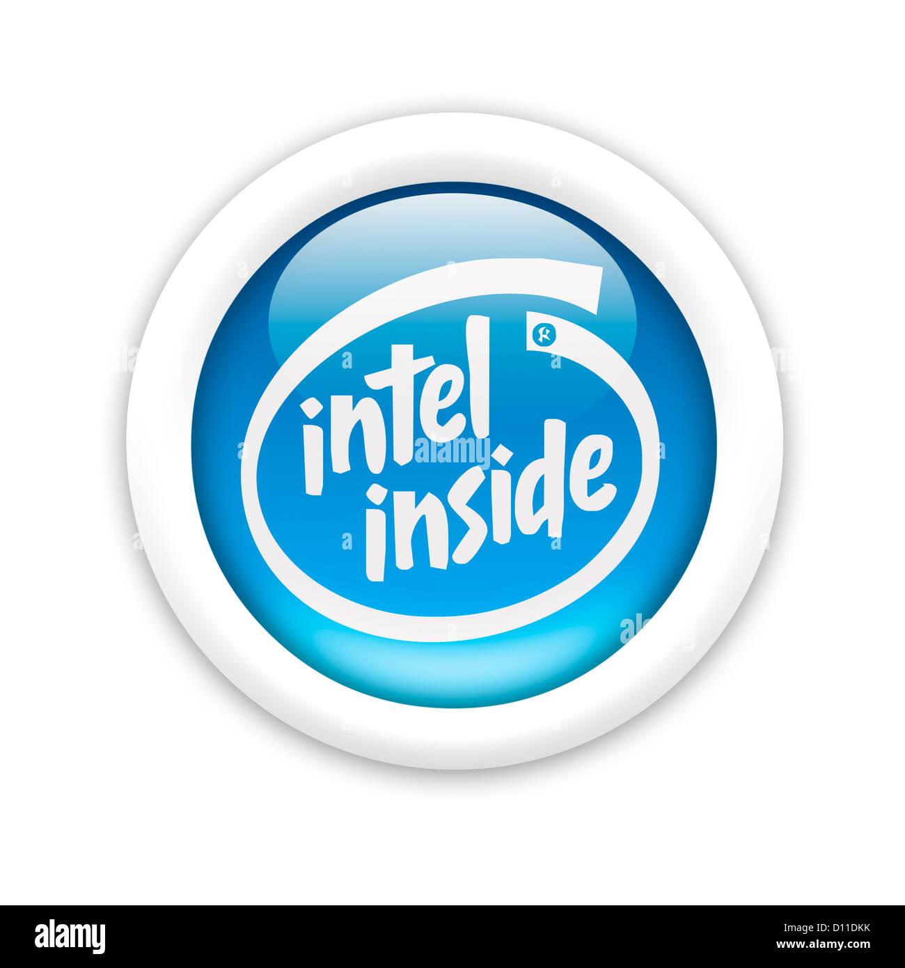 Intel inside logo symbol logotype flag Stock Photo