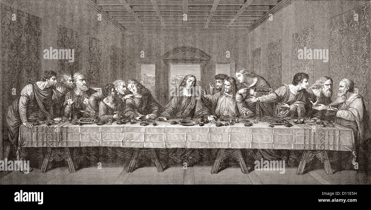 The Last Supper after Leonardo da Vinci. - Stock Image