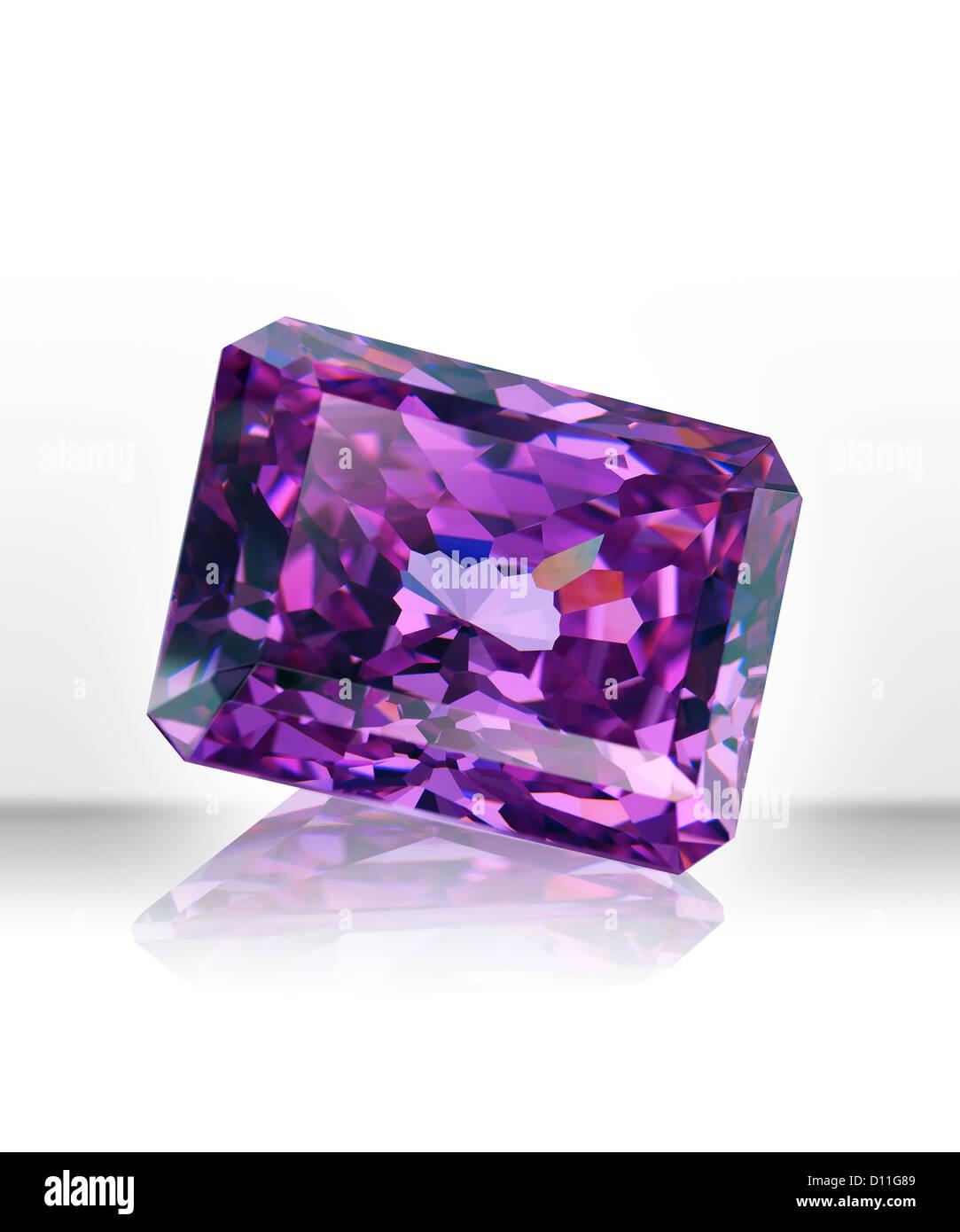 Purple rectangular gemstone - Stock Image