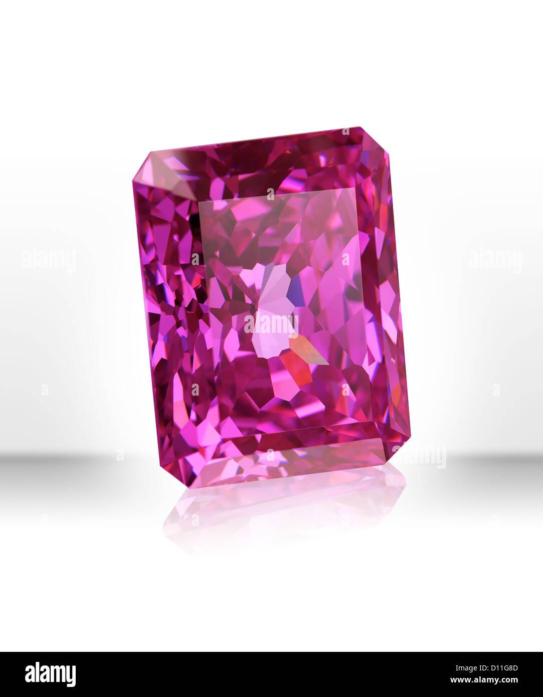 Pink rectangular gemstone - Stock Image