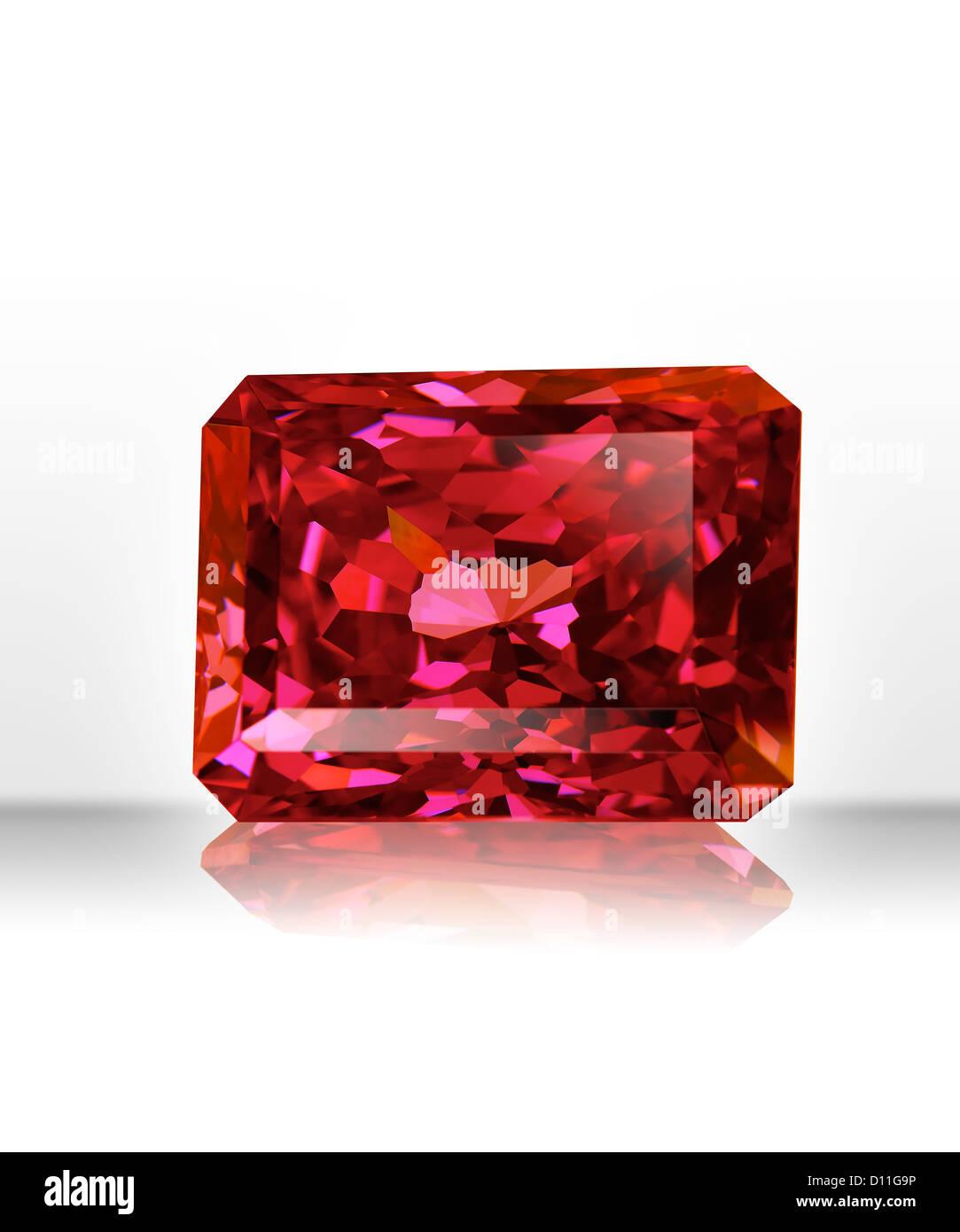 Red rectangular gemstone - Stock Image