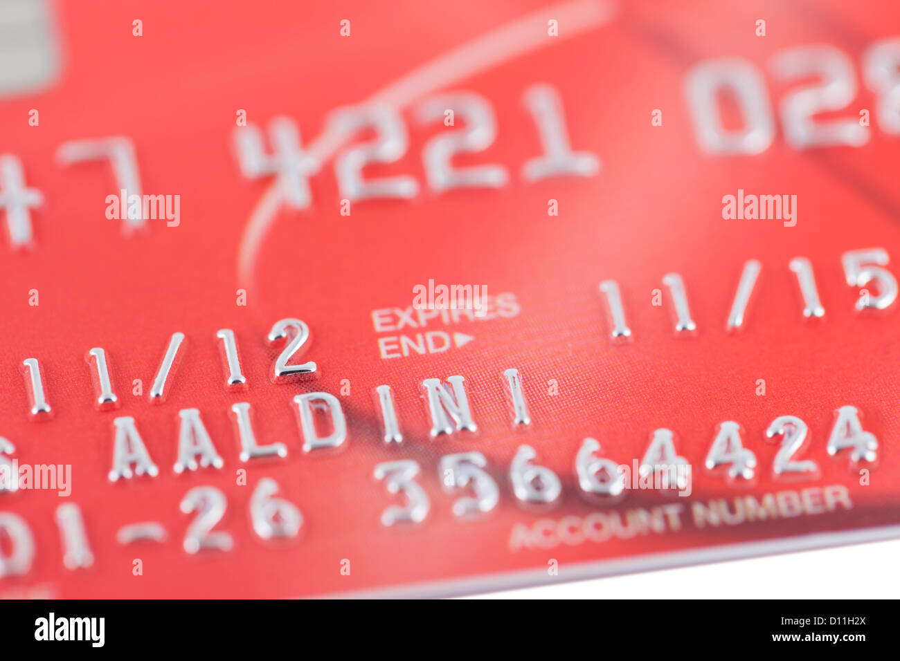 Credit card personal details - Stock Image