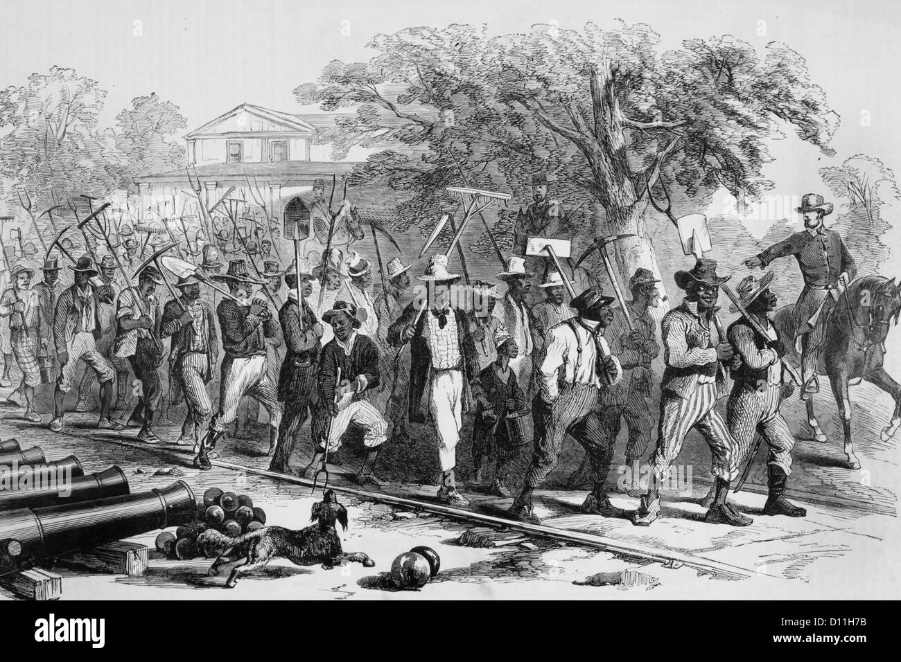 1860s ILLUSTRATION CIVIL WAR MORNING MUSTERING CONTRABAND AFRICAN AMERICAN WORKERS DAY LABORERS AT FORTRESS MONROE - Stock Image