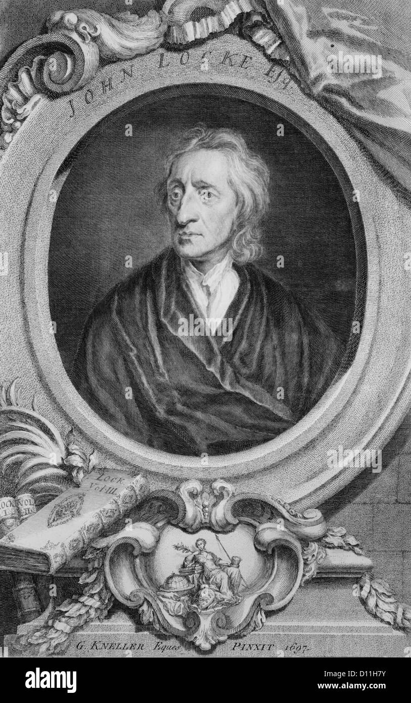 ENGRAVING PORTRAIT JOHN LOCKE ENGLISH PHILOSOPHER PHYSICIAN FATHER OF LIBERALISM 1632-1704 - Stock Image