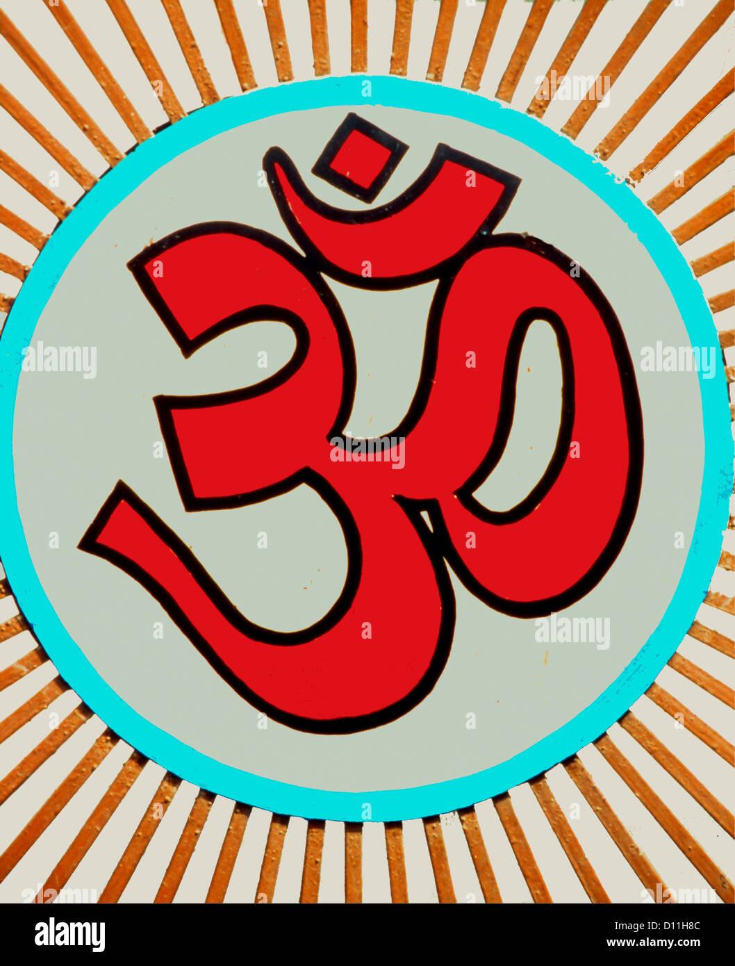 An Oum Or Om Symbol On A Hindu Temple Stock Photo 52281276 Alamy