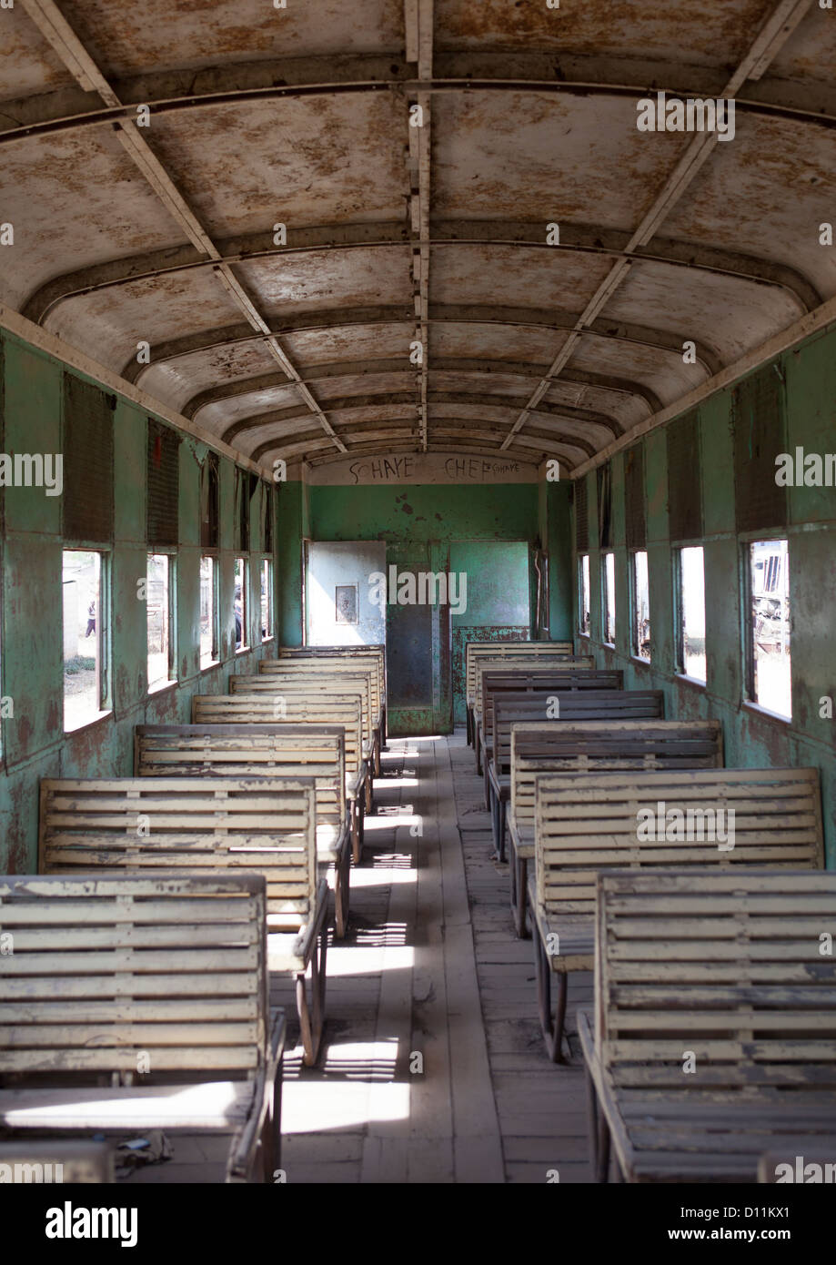 Inside Djibouti Addis Ababa Old Train Third Class, Dire Dawa Train Station, Ethiopia - Stock Image