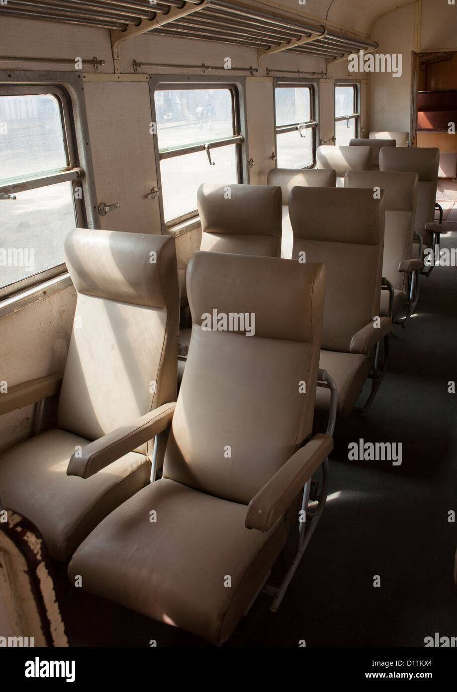 Inside Djibouti Addis Ababa Old Train First Class, Dire Dawa Train Station, Ethiopia - Stock Image