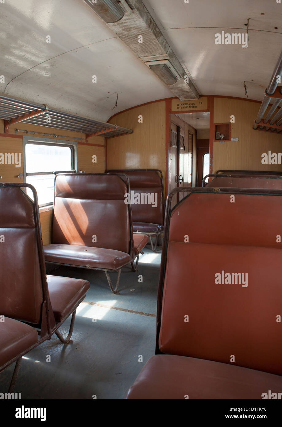 Inside Djibouti Addis Ababa Old Train Second Class, Dire Dawa Train Station, Ethiopia - Stock Image