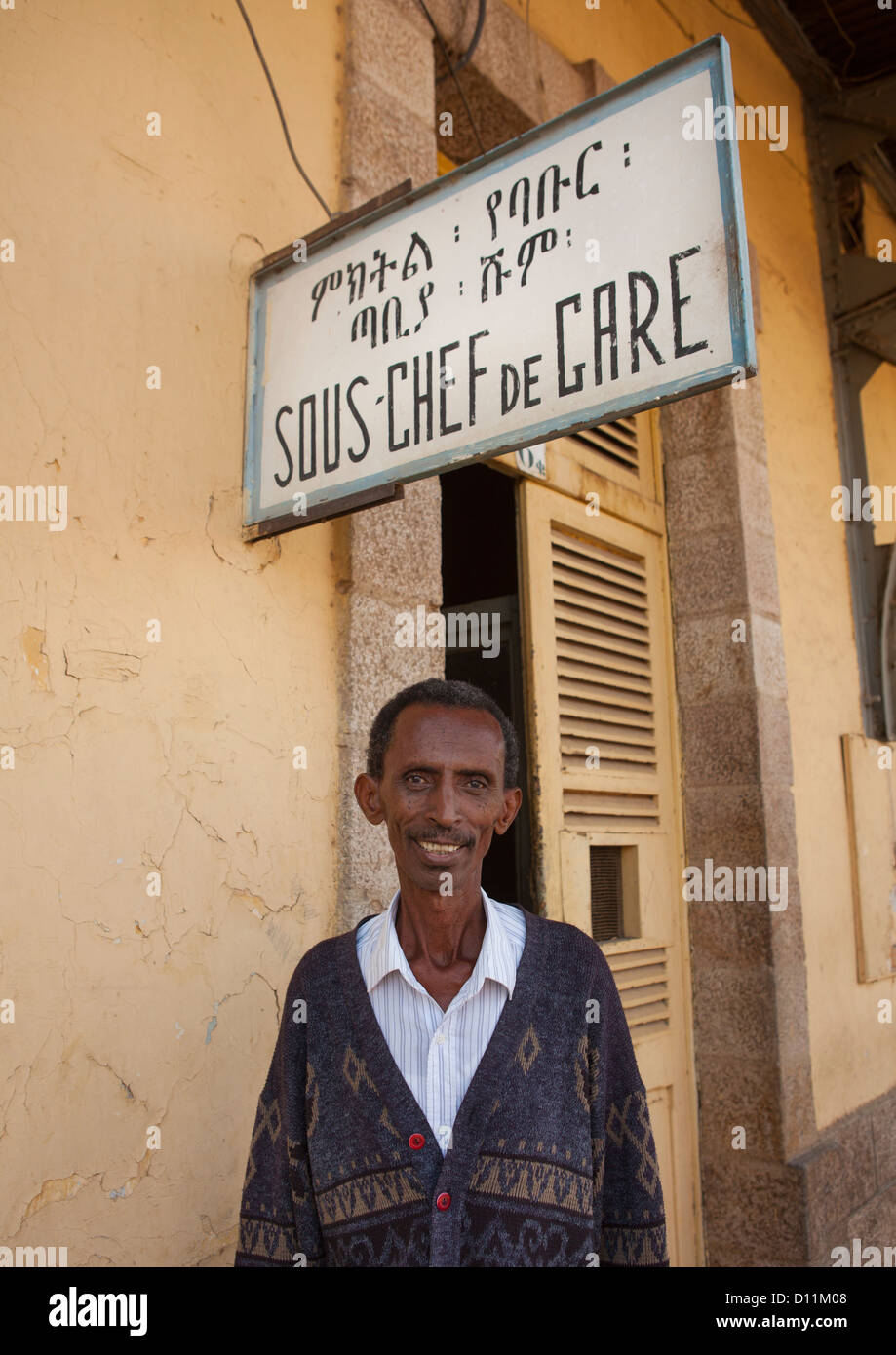 Portrait Of Dire Dawa Train Station Deputy Manager Outside His Office, Ethiopia - Stock Image