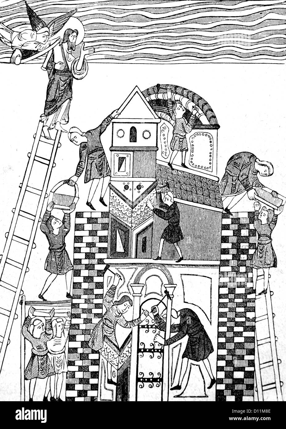 Illustration Of The Building Of The Tower Of Babel From The Book Cassell's History Of England Volume I - Stock Image