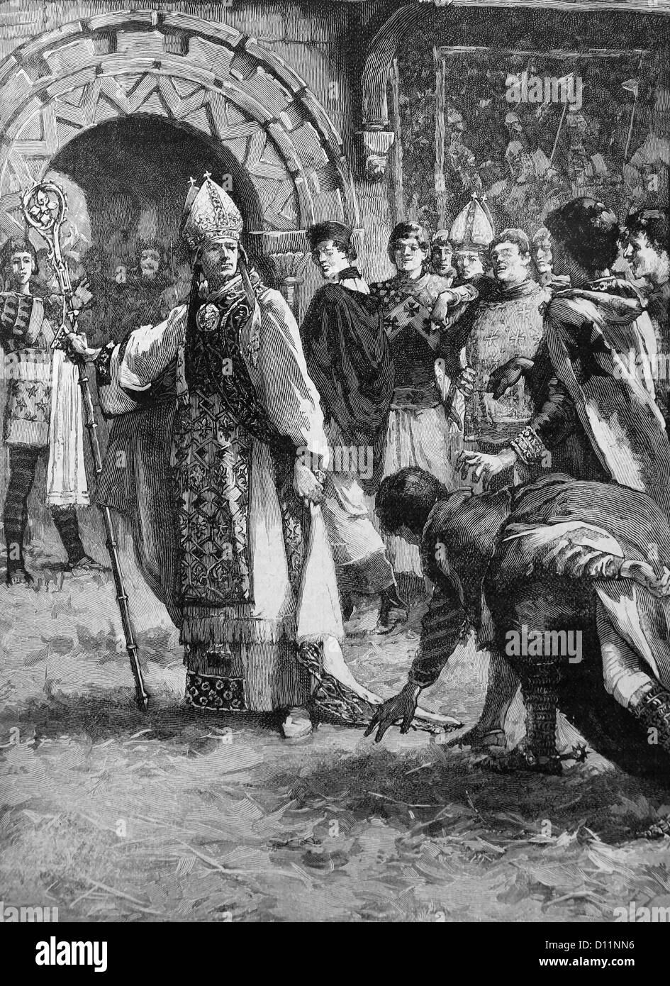Illustration Of Archbishop Thomas Becket Before His Enemies In The Council Hall After Resisting Decisions Of King - Stock Image