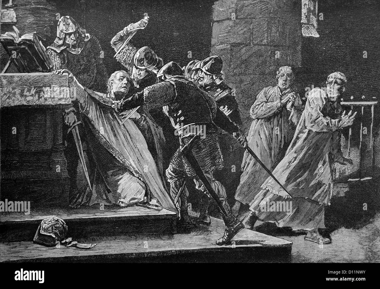 Illustration Of The Murder Of Archbishop Thomas Becket In Canterbury Cathedral 1170 A.D - Stock Image