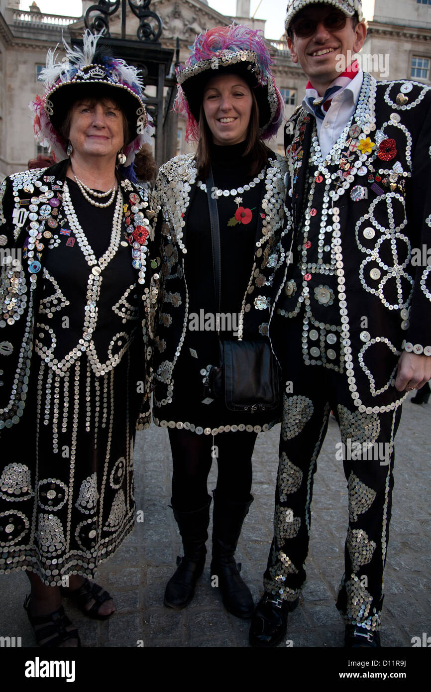 Pearly King and Queens on Remembrance Day, Hyde Park, London, Greater London, England, United Kingdom - Stock Image