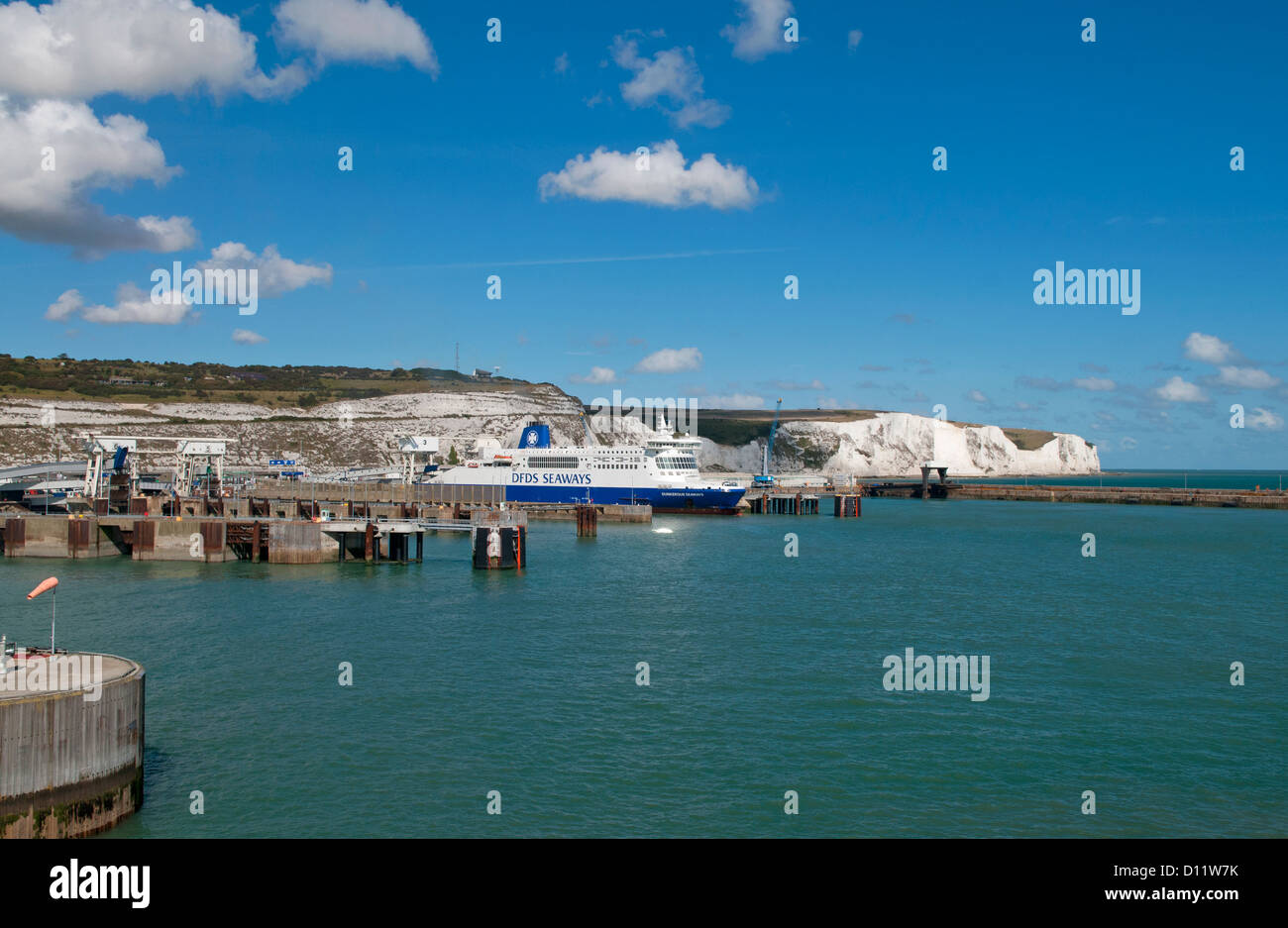 DFDS Seaways Car ferries in the port of Dover in Kent, on the south coast of England Stock Photo
