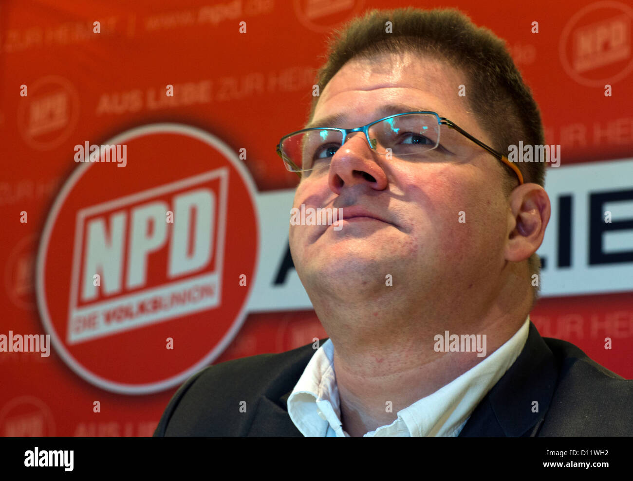 Chairman of the right-extremist National Democratic Party of Germany (NPD), Holger Apfel, speaks at a press conference - Stock Image
