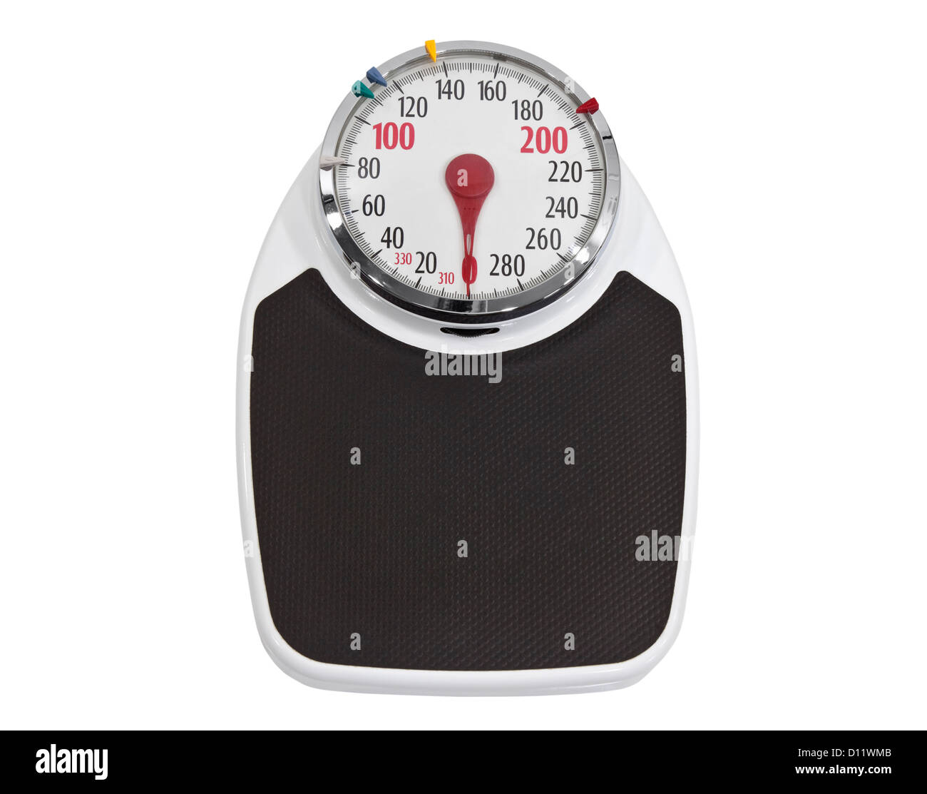 Old home weight scale isolated with clipping path. - Stock Image