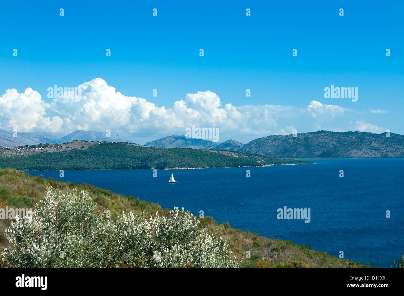 Agios Stefanos Bay view, Corfu, Ionian Islands, Greece - Stock Image