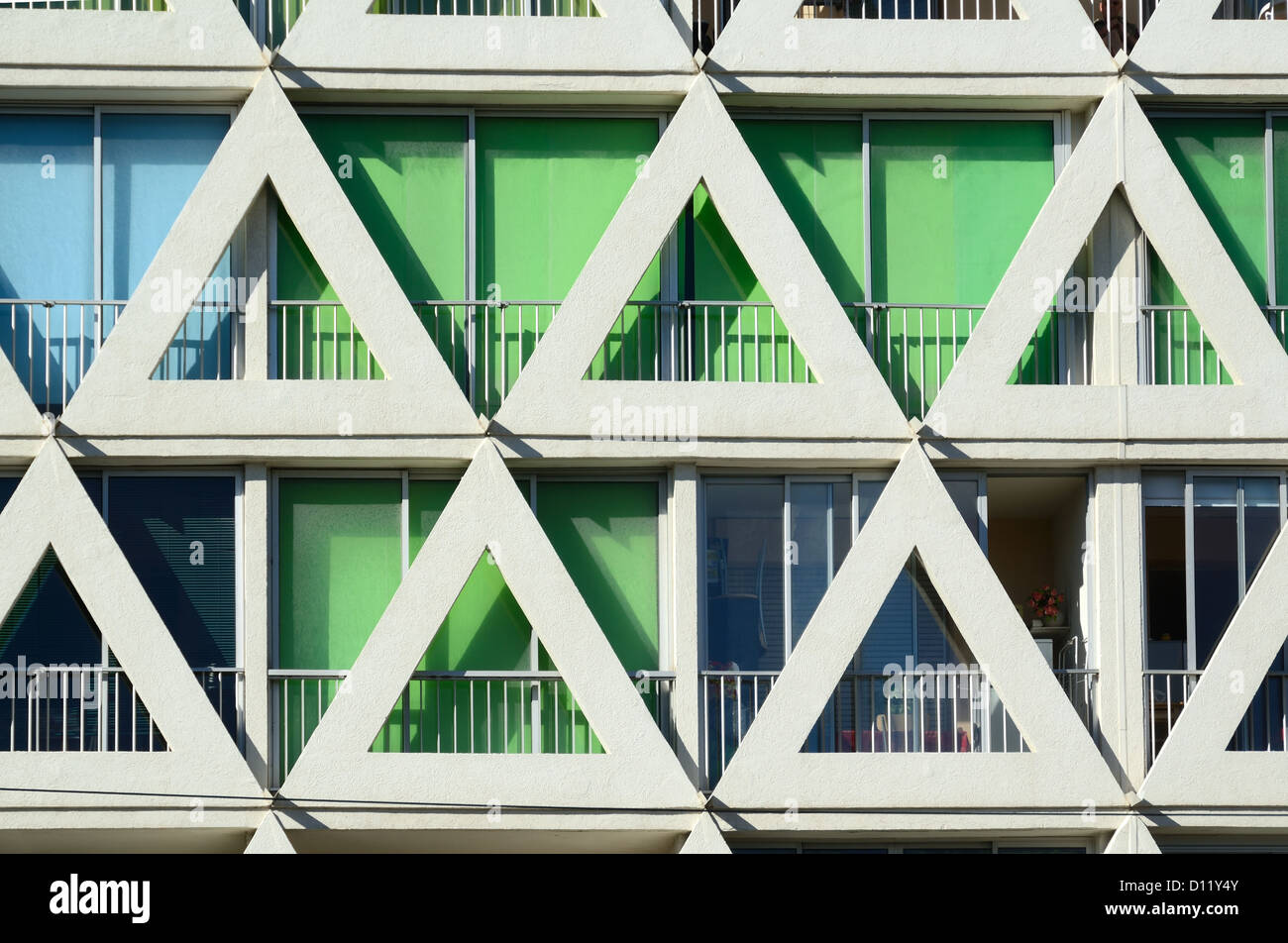Triangular Facade Les Voiles Blanches Apartments La Grande-Motte Hérault France - Stock Image