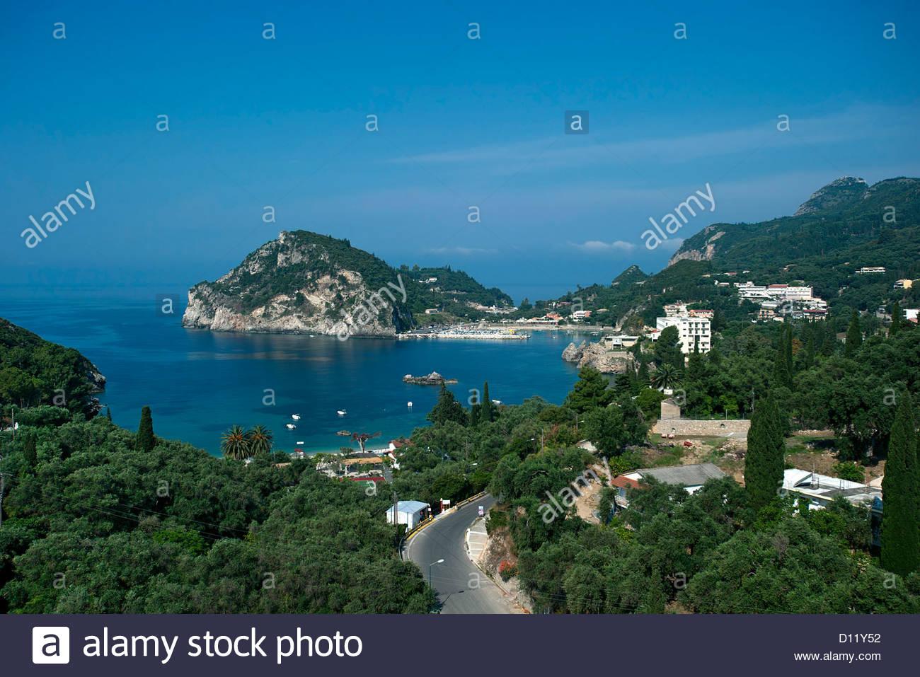 View of Paleokastritsa, Corfu, Ionian Islands, Greece - Stock Image