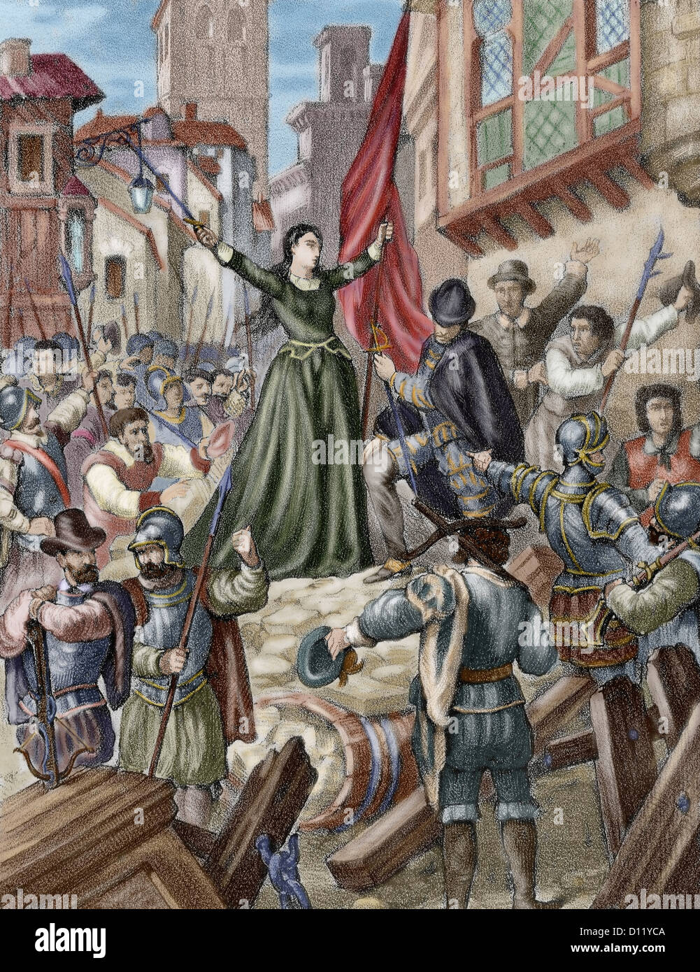 Revolt of the Comuneros (1550-1521). Maria Pacheco (1496-1531) against the  royalist forces.