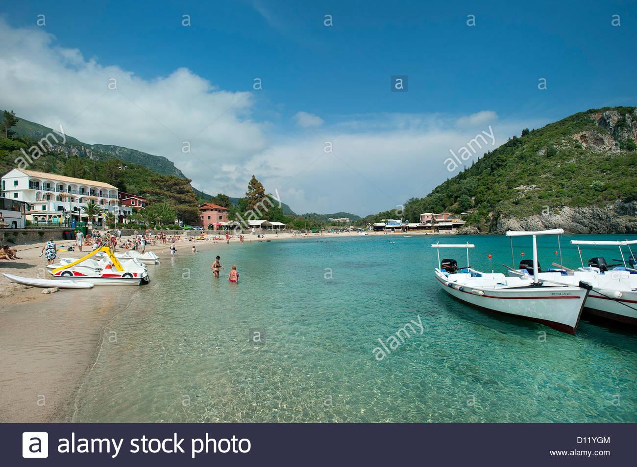 Agios Spiridon Beach, Paleokastritsa, Corfu, Ionian Islands, Greece - Stock Image