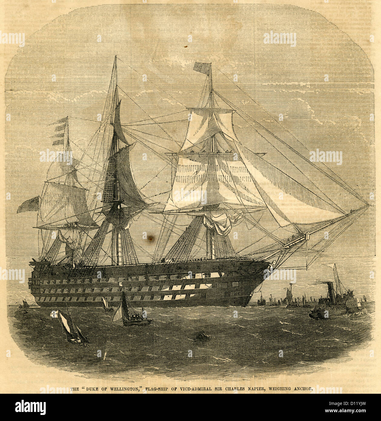 1854 engraving, The Duke of Wellington, Flag-ship of Vice-Admiral Sir Charles Napier, Weighing Anchor. - Stock Image