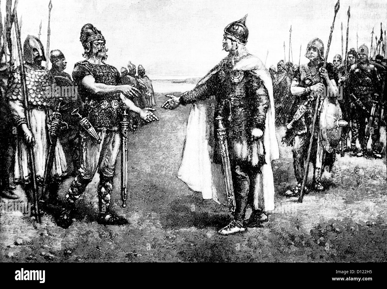 Illustration Of King Edmund Ironside and King Canute Meeting On the Island Of Olney - Stock Image