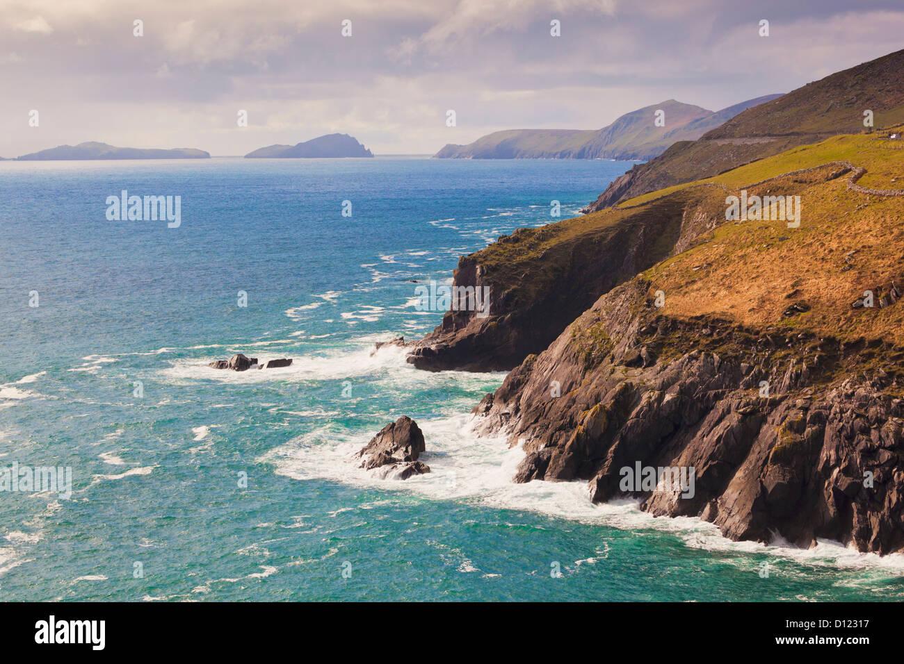 View Along The Coast To Blasket Islands On The Horizon Near Slea Head; Dingle Peninsula County Kerry Ireland Stock Photo