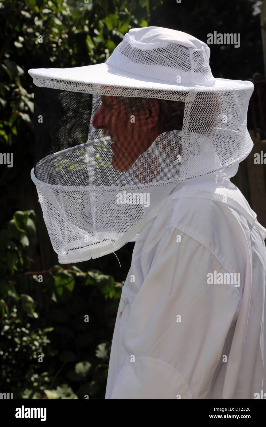 Beekeeper's hat Ant White Outfit Surrey England - Stock Image