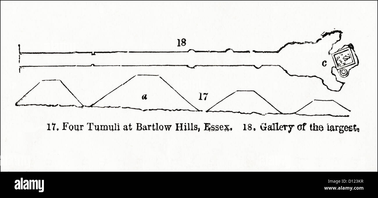 Roman tumuli cemetery burial mounds at the Bartlow Hills Essex. Victorian woodcut engraving circa 1845 - Stock Image