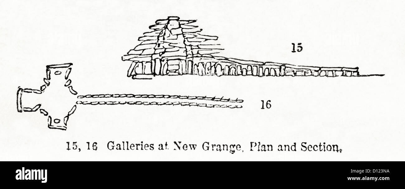 Plan and section of Newgrange Neolithic 3200 BC burial mound County Meath Ireland. Victorian woodcut engraving circa - Stock Image