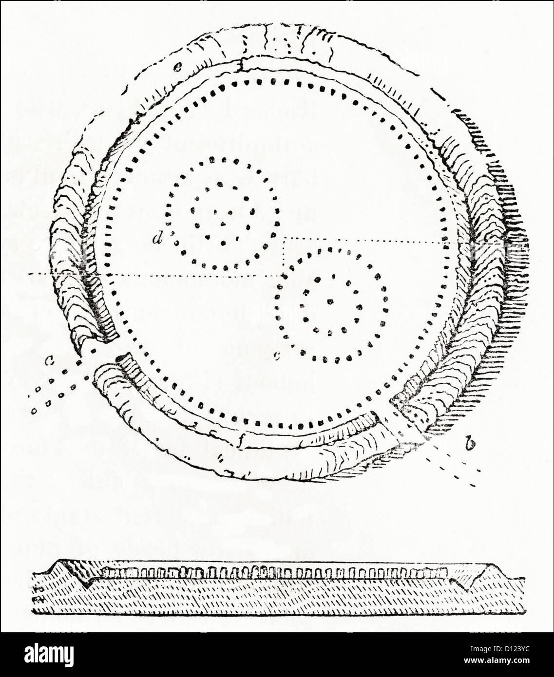 Plan and sectioned view of Avebury Neolithic henge stone circles Wiltshire England UK. Victorian woodcut engraving - Stock Image