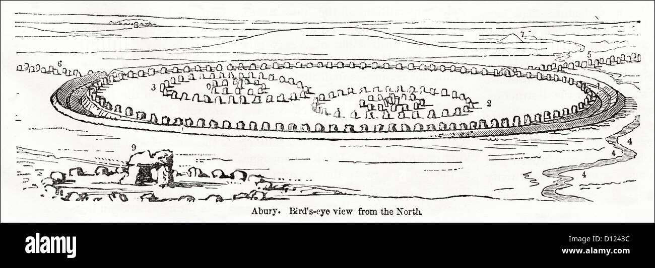 Restored view of Avebury Neolithic henge stone circles Wiltshire England UK. Victorian woodcut engraving circa 1845 - Stock Image
