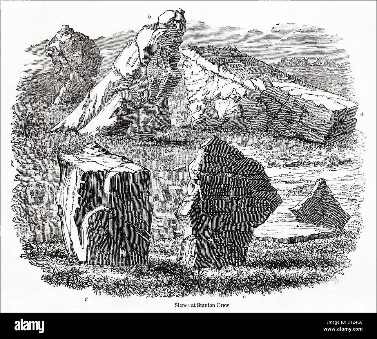 Stanton Drew stone circle near Bristol England UK. Victorian woodcut engraving circa 1845 - Stock Image