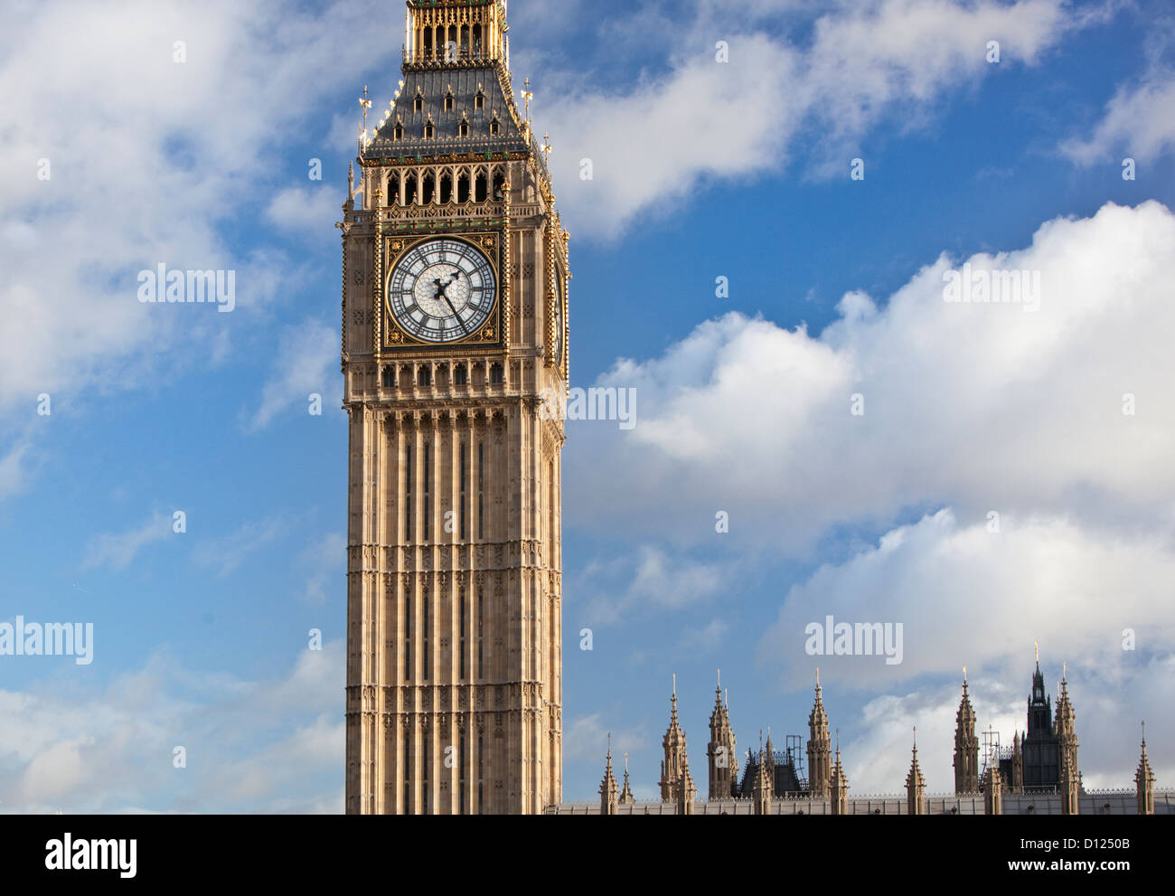 Elizabeth Tower (aka Big Ben) at the north end of the Palace of Westminster, London, England, UK. - Stock Image