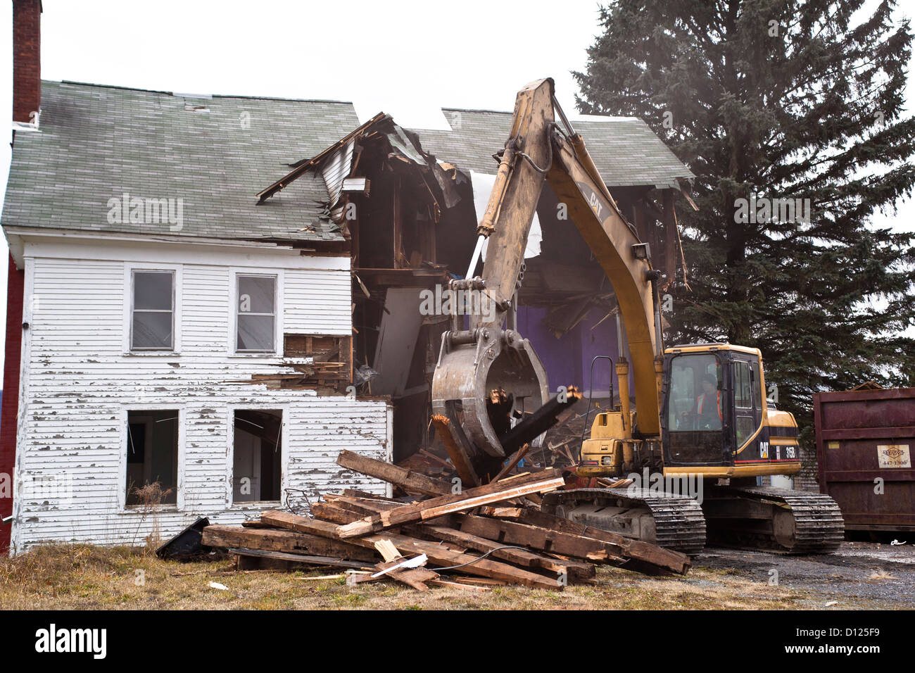 Demolition of HIstoric Building in Pownal Vermont - Stock Image