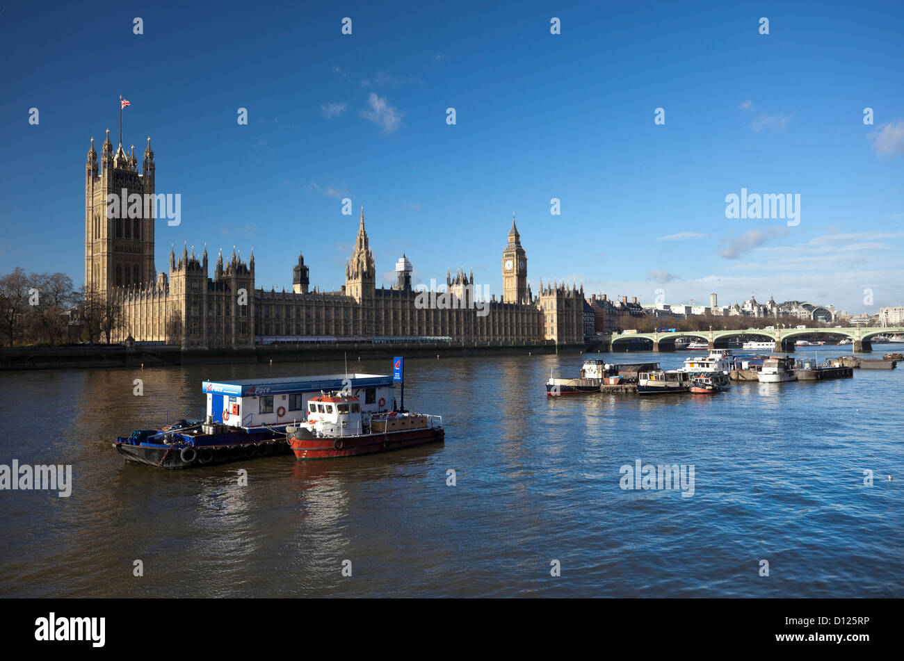 The River Thames and the Palace of Westminster, London, England, UK - Stock Image