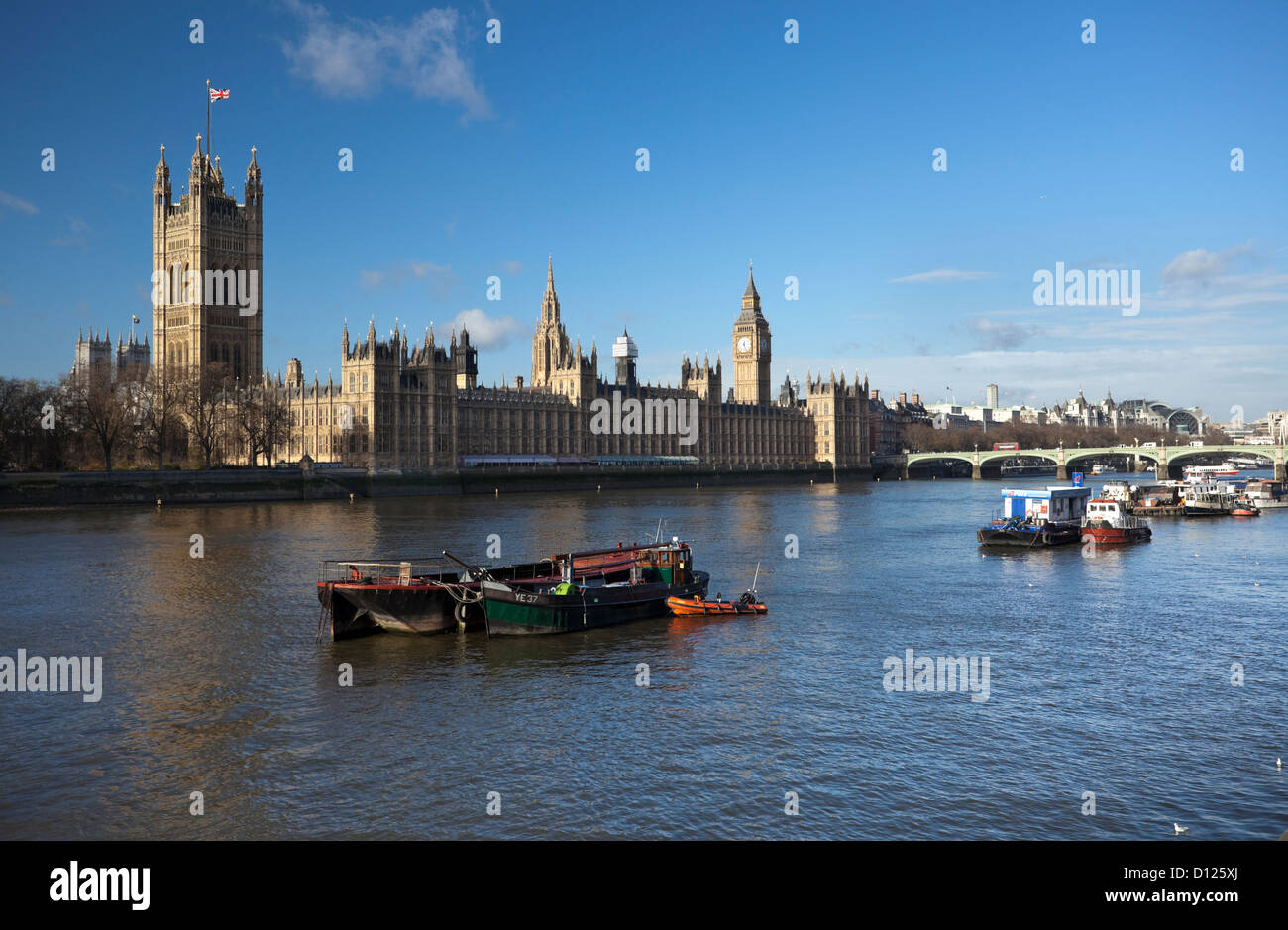 River Thames and the Palace of Westminster, London, England, UK - Stock Image