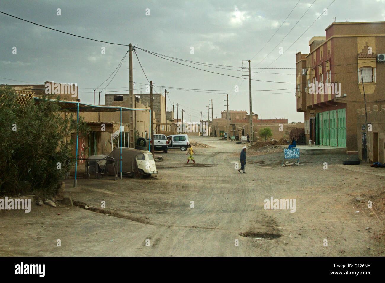 Merzouga, Erg Chebbi, Sahara, Morocco, Street - Stock Image