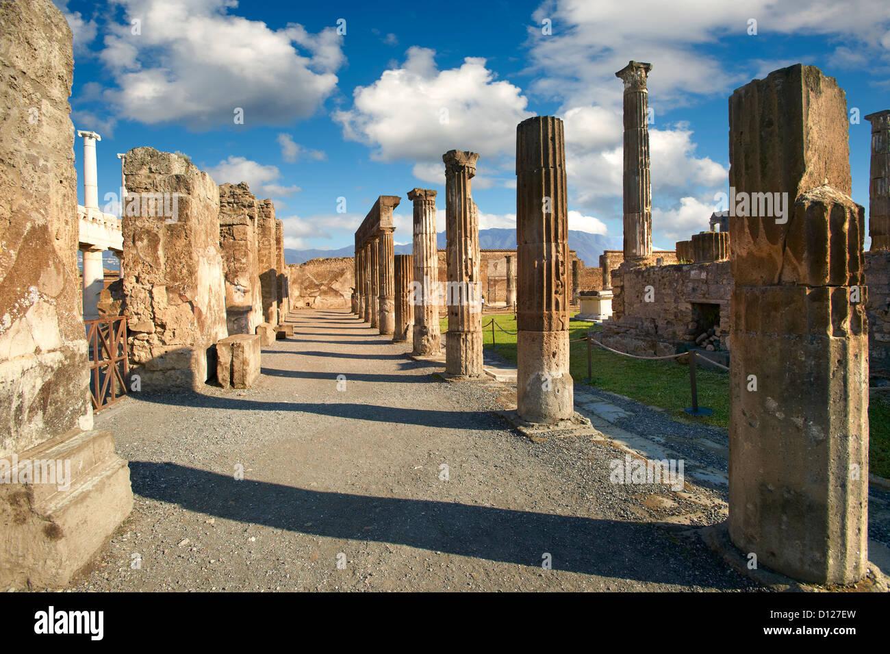 Roman Temple of Apollo Pompeii archaeological site, Italy - Stock Image