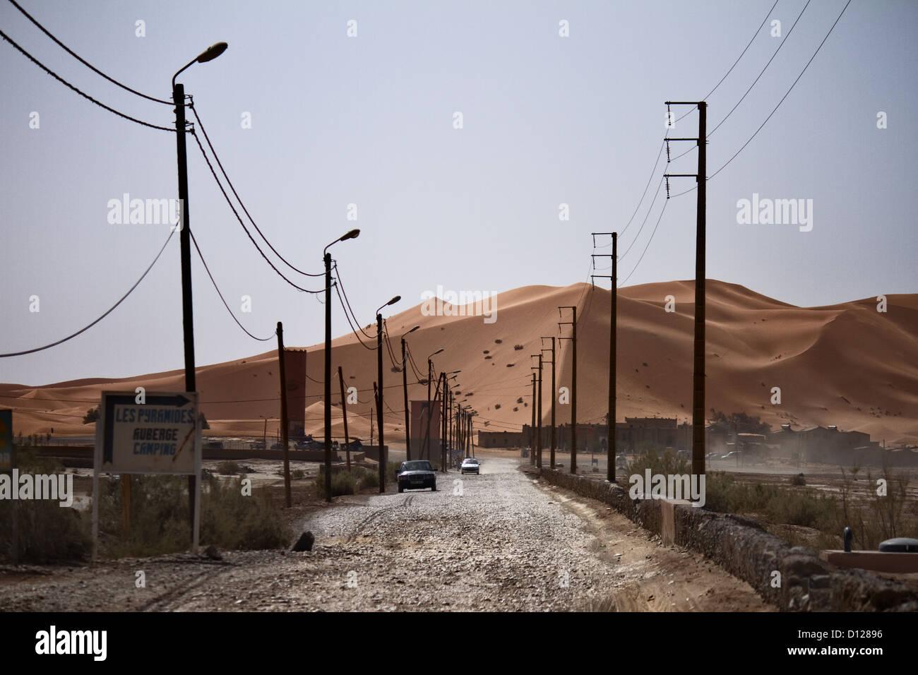 Merzouga, Erg Chebbi, Sahara, Morocco, Dune, Street - Stock Image