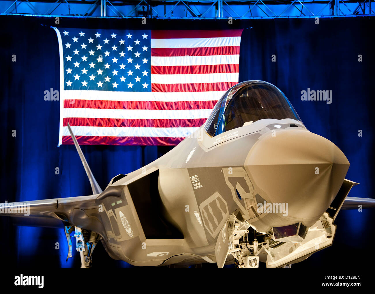 The first F-35 Lightning II joint strike fighter to arrive to the 33rd Fighter Wing was on display during the rollout - Stock Image