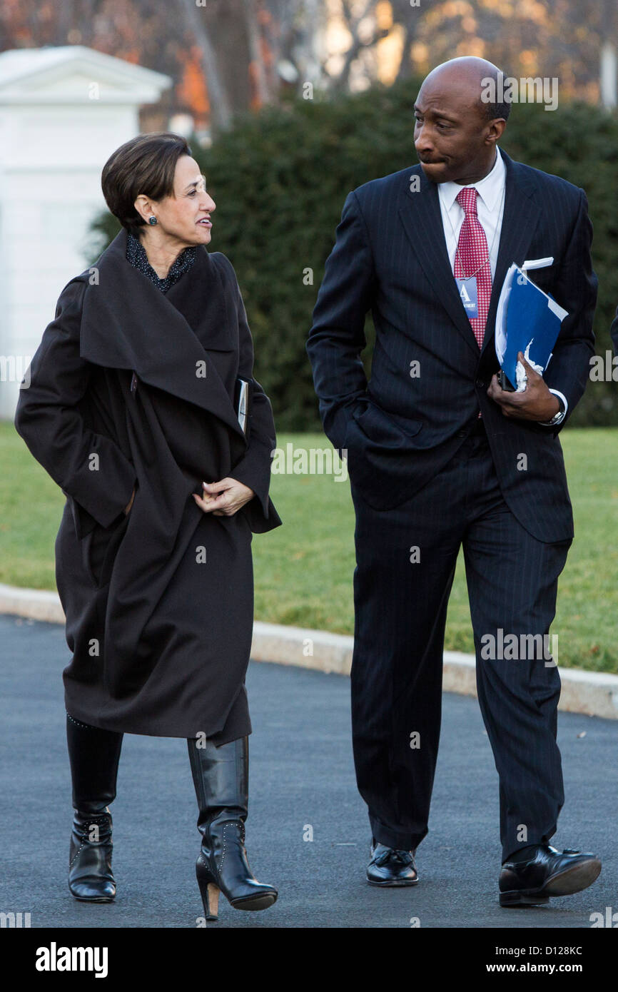 Archer Daniels Midland CEO Patricia Woertz and Merck President and CEO Ken Frazier arrive at the White House. - Stock Image