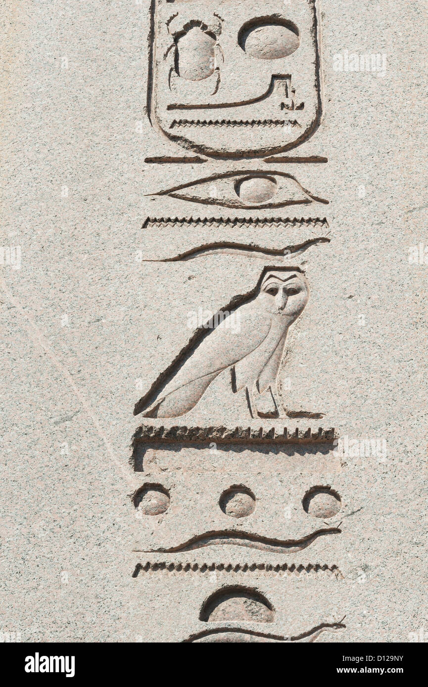 Hieroglyph Carvings In The Surface Of The Ancient Egyptian Obelisk Of Theodosius; Istanbul Turkey - Stock Image
