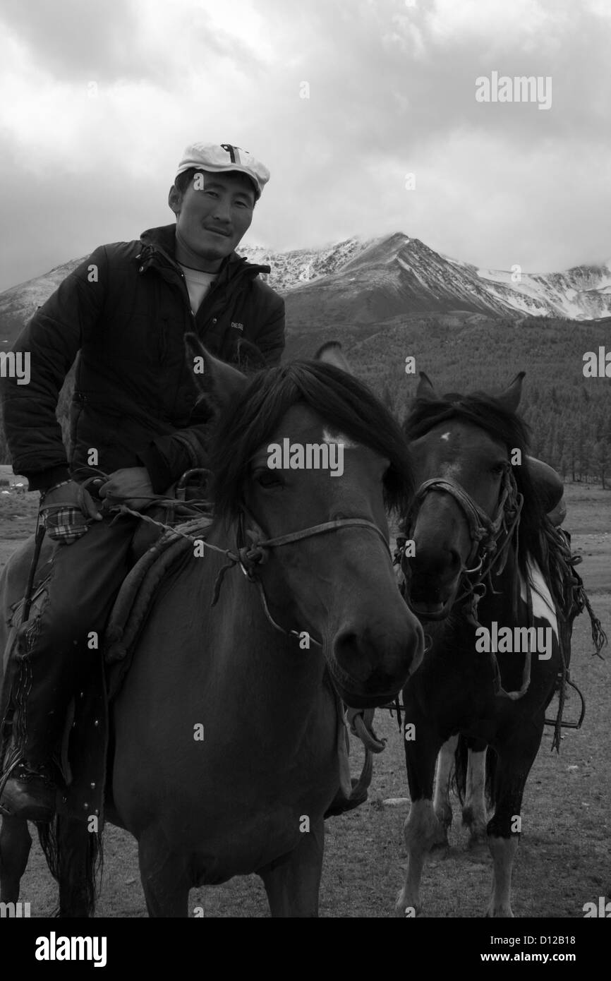 Nomad boy near Khoton lake, Altai Tavan Bogd National Park - Stock Image
