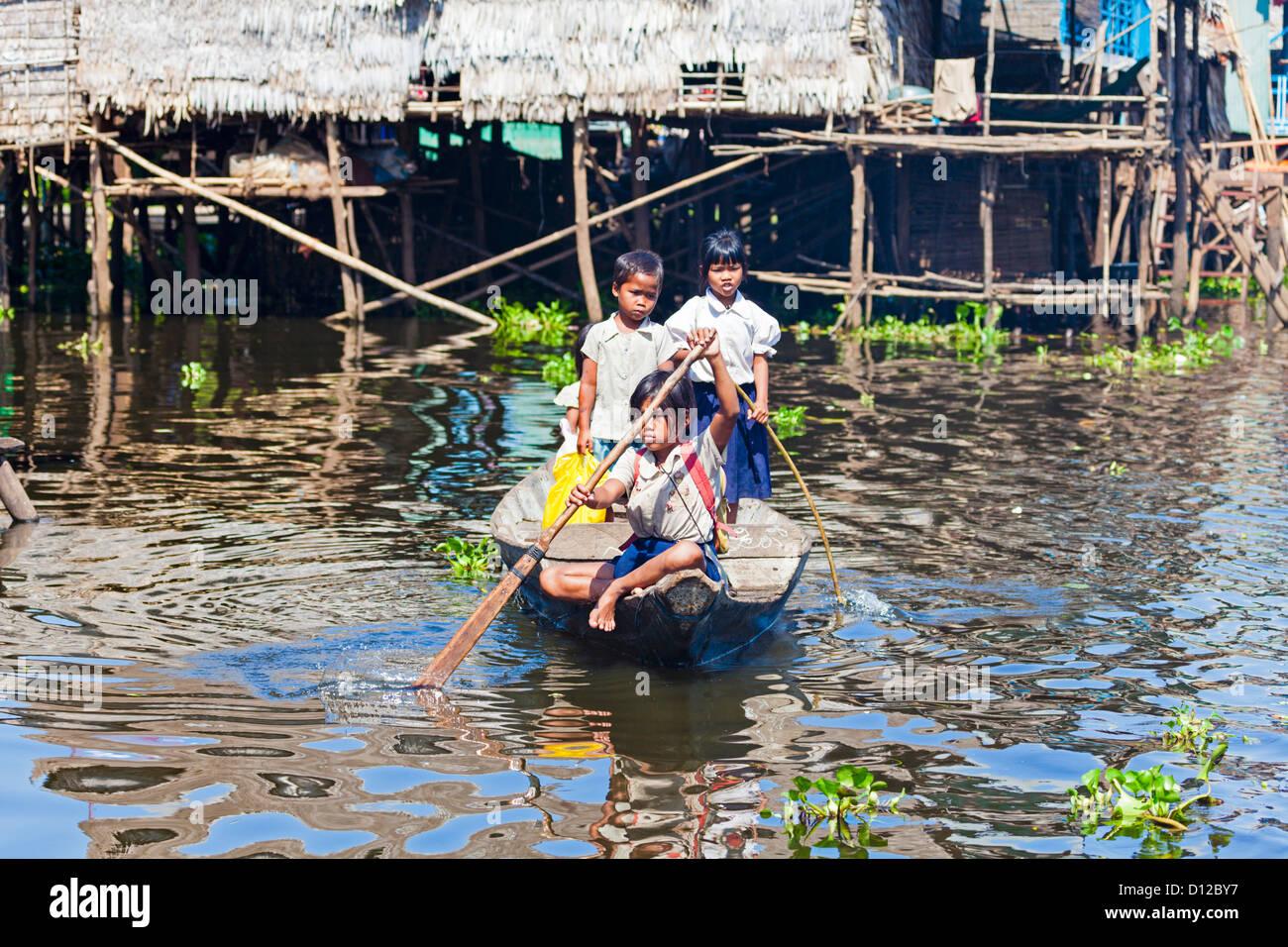 Floating fishing village in Cambodia - Stock Image