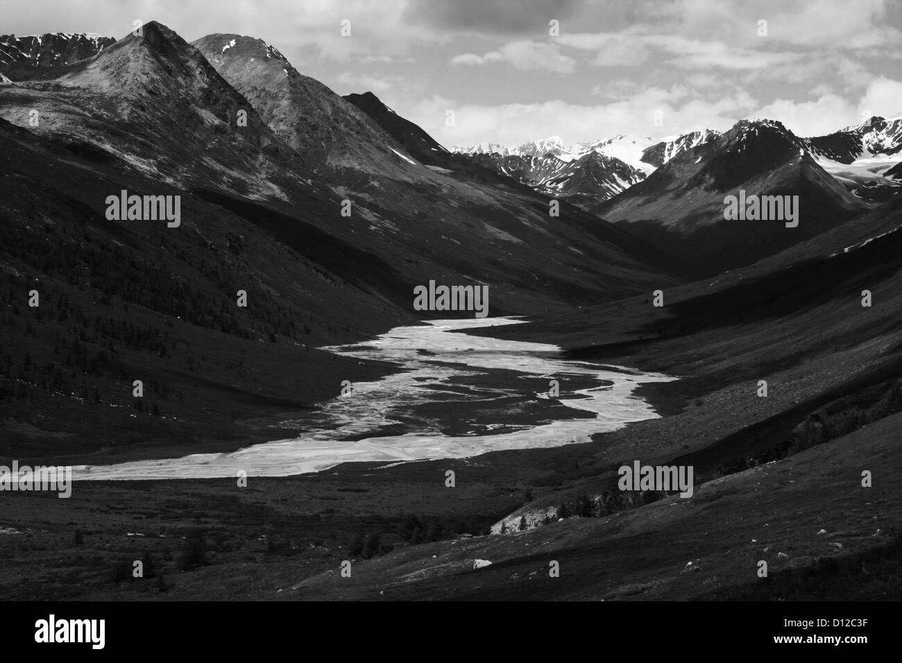 Tsagaan Us Gol (white water river), Altai Tavan Bogd National Park - Stock Image