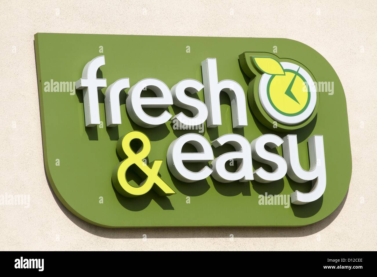Dec. 5, 2012 - Los Angeles, California, U.S. - A Fresh & Easy supermarket sign is seen on Wednesday. Tesco, - Stock Image